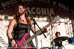 Jasmine Cain performing on the Main Stage of the Laconia Roadhouse during Laconia Motorcycle Week. Laconia, NH, USA. June 16, 2015.  Photography ©2015 Michael Lichter.