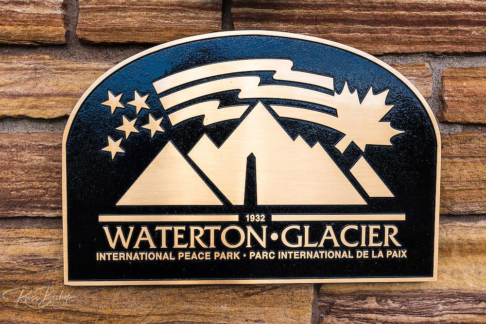 Waterton-Glacier International Peace Park sign, Glacier National Park, Montana USA