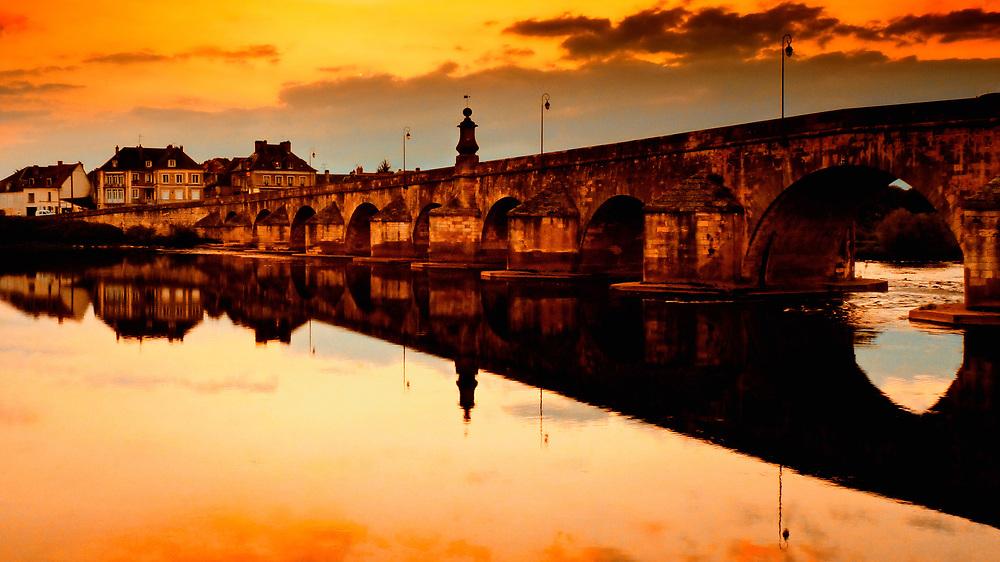 Sunset on the River - La-Charite-sur-Loire, France