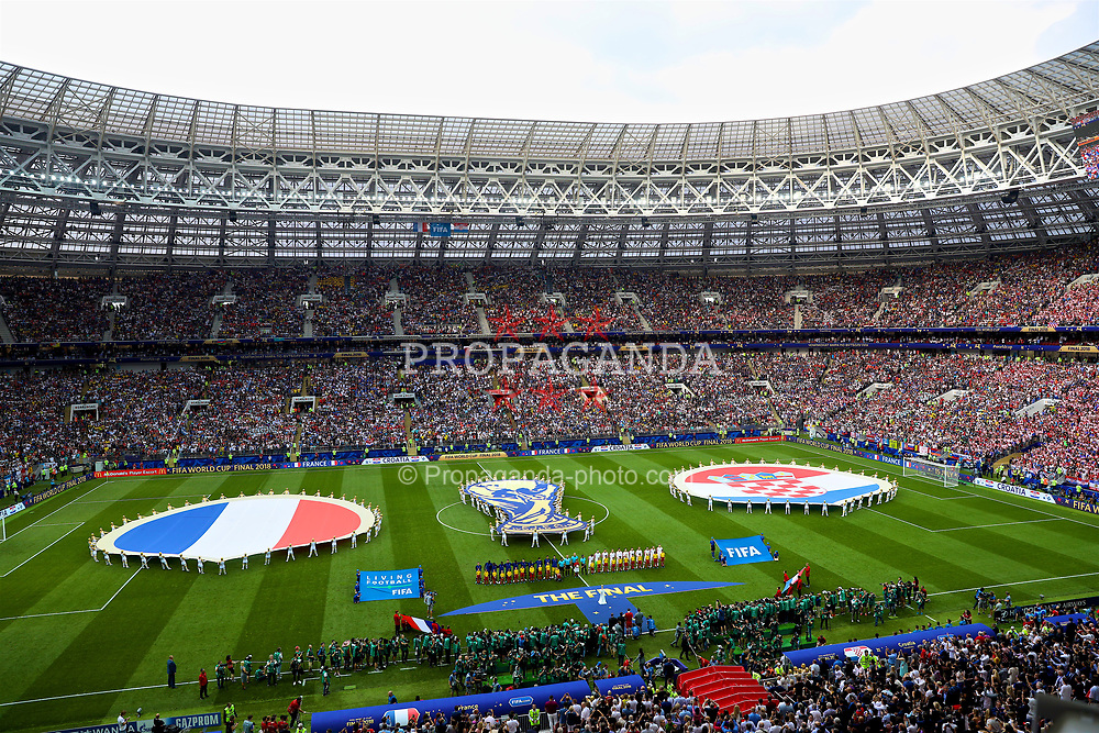 MOSCOW, RUSSIA - Sunday, July 15, 2018: France and Croatia players line-up for the national anthems before the FIFA World Cup Russia 2018 Final match between France and Croatia at the Luzhniki Stadium. (Pic by David Rawcliffe/Propaganda)