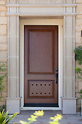Custom Front Door Entry with Stone Accent Stock Photo
