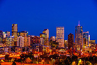 Downtown Denver skyline with Interstate 25 in the foreground, Denver, Colorado USA.