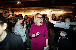 © Licensed to London News Pictures. 17/01/2020. Manchester, UK. REBECCA LONG-BAILEY (r) arrives through the audience ahead of her speech and Q&A . Salford & Eccles MP Rebecca Long-Bailey launches her campaign to succeed Jeremy Corbyn in the race for Labour Party leadership , at an event in the Museum of Science and Industry in Manchester City Centre . Photo credit: Joel Goodman/LNP