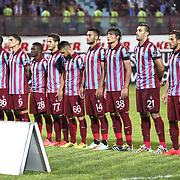 Trabzonspor's players (Left to Right) Kevin Constant, Mustapha Yatabare,Carl Medjani, Waris Majeed, Musa Nizam, Fatih Atik, Mustafa Akba˛, Salih Dursun, Essaid Belkalem, Zeki Yavru goalkeeper Onur Recep Kivrak during their Turkish SuperLeague Derby match Trabzonspor between Fenerbahce at the Avni Aker Stadium at Trabzon Turkey on Sunday, 14 September 2014. Photo by Aykut AKICI/TURKPIX