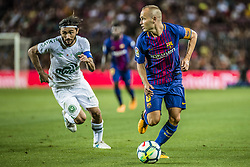 August 7, 2017 - Barcelona, Catalonia, Spain - FC Barcelona midfielder A. INIESTA shoots a goal  during the Joan Gamper Trophy between FC Barcelona and Chapecoense at the Camp Nou stadium in Barcelona (Credit Image: © Matthias Oesterle via ZUMA Wire)