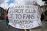 Charlton Athletic fans protesting outside The Valley Stadium before k/o. Skybet football league championship match, Charlton Athletic v Brighton & Hove Albion at The Valley  in London on Saturday 23rd April 2016.<br /> pic by John Patrick Fletcher, Andrew Orchard sports photography.