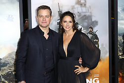Matt Damon and Luciana Barroso at the premiere of '12 Strong' in New York City.