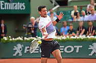 Novak Djokovic (SRB) during the preliminary rounds of the Roland Garros Tennis Open 2017 at Roland Garros Stadium, Paris, France on 2 June 2017. Photo by Jon Bromley.