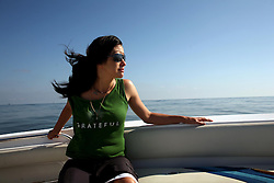 05 May 2010. Venice, Louisiana. Deepwater Horizon, British Petroleum environmental oil spill disaster.<br /> ARCA NASCAR rising star and environmental activist Leilani Munter takes in the unnatural disaster created by BP on a trip into the Gulf of Mexico.<br /> Photo credit;Charlie Varley/varleypix.com