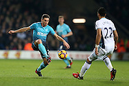 Angel Rangel of Swansea city (l) in action. Premier league match, West Bromwich Albion v Swansea city at the Hawthorns stadium in West Bromwich, Midlands on Wednesday 14th December 2016. pic by Andrew Orchard, Andrew Orchard sports photography.