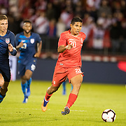 EAST HARTFORD, CONNECTICUT- October 16th:  Edison Flores #20 of Peru defended by midfielder Wil Trapp #20 of the United States during the United States Vs Peru International Friendly soccer match at Pratt & Whitney Stadium, Rentschler Field on October 16th 2018 in East Hartford, Connecticut. (Photo by Tim Clayton/Corbis via Getty Images)