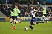Millwall striker Lee Gregory (9) shoots at goal during the The FA Cup 3rd round match between Millwall and Bournemouth at The Den, London, England on 7 January 2017. Photo by Matthew Redman.