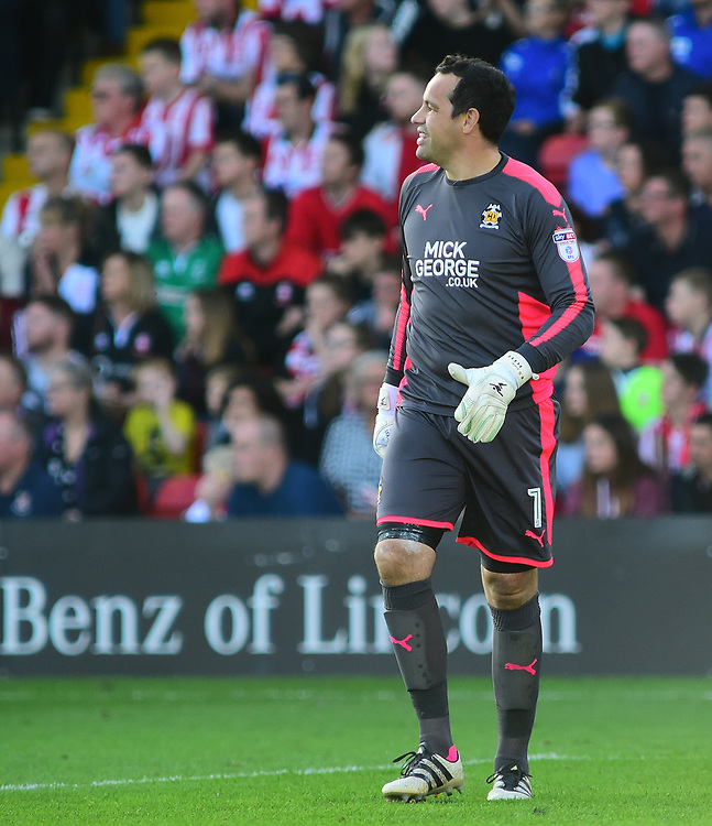 Cambridge United's David Forde<br /> <br /> Photographer Andrew Vaughan/CameraSport<br /> <br /> The EFL Sky Bet League Two - Lincoln City v Cambridge United - Saturday 14th October 2017 - Sincil Bank - Lincoln<br /> <br /> World Copyright © 2017 CameraSport. All rights reserved. 43 Linden Ave. Countesthorpe. Leicester. England. LE8 5PG - Tel: +44 (0) 116 277 4147 - admin@camerasport.com - www.camerasport.com