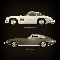 For the lover of old classic cars, this combination of a Mercedes 300SL Gullwing 1954 and Jaguar E Type 1960 is truly a beautiful work to have in your home.<br /> The classic Mercedes 300SL Gullwing and the beautiful Jaguar E Type are among the most beautiful cars ever built.<br /> You can have this work printed in various materials and without loss of quality in all formats.<br /> For the oldtimer enthusiast, the series by the artist Jan Keteleer is a dream come true. The artist has made a fine selection of the very finest cars which he has meticulously painted down to the smallest detail. – –<br /> -<br /> <br /> BUY THIS PRINT AT<br /> <br /> FINE ART AMERICA<br /> ENGLISH<br /> https://janke.pixels.com/featured/mercedes-300sl-gullwing-1954-and-jaguar-e-type-1960-jan-keteleer.html<br /> <br /> WADM / OH MY PRINTS<br /> DUTCH / FRENCH / GERMAN<br /> https://www.werkaandemuur.nl/nl/shopwerk/Mercedes-300SL-Gullwing-1954-en-Jaguar-E-Type-1960/756116/132?mediumId=1&size=60x60<br /> –