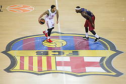 January 27, 2017 - Barcelona, Spain - Shane Larking of Baskonia defended by Tyrese Rice of FC Barcelona during the Euroleague Turkish Airlines EuroLeague regular season between FC Barcelona vs Baskonia Vitoria Gasteiz at Palau Blaugrana on January 28th, 2017 in Barcelona, Spain. (Credit Image: © Xavier Bonilla/NurPhoto via ZUMA Press)