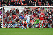Nottingham Forest' s Jamie Paterson (21) slides in to score his sides 3rd goal.. FA Cup with Budweiser, 3rd round, Nottingham Forest v West Ham Utd match at the City Ground in Nottingham, England on Sunday 5th Jan 2014.<br /> pic by Andrew Orchard, Andrew Orchard sports photography.