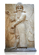 Stone relief sculptured panel of a Genie blessing. Gate No 3, Inv AO 19863 from Dur Sharrukin the palace of Assyrian king Sargon II at Khorsabad, 713-706 BC.  Louvre Museum Room 4 , Paris .<br /> <br /> If you prefer to buy from our ALAMY PHOTO LIBRARY  Collection visit : https://www.alamy.com/portfolio/paul-williams-funkystock/ancient-assyria-antiquities.html  Refine search by adding background colour, place, subject, museum etc into the LOWER SEARCH WITHIN GALLERY box to <br /> <br /> Visit our ANCIENT ASSYRIAN PHOTO COLLECTIONS for more photos to download or buy as wall art prints https://funkystock.photoshelter.com/gallery-collection/Ancient-Assyrian-Art-Artefacts-Antiquities-Historic-Sites-Pictures-Images-of/C0000cjRqQyJjLag