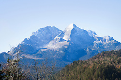 Scenic view of snowcapped mountain in Bavarian alps, Alpspitz, Wetterstein Mountain, Bavaria, Germany