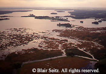 Aerial of Lake Pymatuning and marshlands at dusk, Pymatuning State Park, Crawford Co., PA