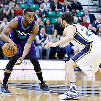 27 January 2016: Utah Jazz guard Raul Neto (25) defends on Charlotte Hornets guard Kemba Walker (15) during the Utah Jazz 102-73 victory over the Charlotte Hornets, at the Vivint Smart Home Arena, Salt Lake City, Utah, USA.