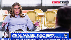 July 15, 2020 - New York, New York, U.S. -  A screen grab from the 'Good Morning America' interview with MARY TRUMP about her book, 'Too Much and Never Enough.'  In it, she describes a toxic set of family dynamics which resulted in President Trump being, in her words, ''The World's Most Dangerous Man.(Credit Image: © Brian Cahn/ZUMA Wire)
