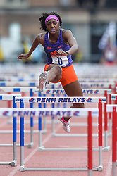 April 27, 2018 - Philadelphia, Pennsylvania, U.S - A member of the Clemson team competes in the College Women's Shuttle Hurdles 4x100m at Franklin Field in Philadelphia, Pennsylvania. (Credit Image: © Amy Sanderson via ZUMA Wire)