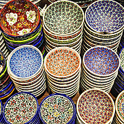 Intricately painted ceramic plates for sale in Istanbul's historic Grand Bazaar