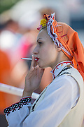 Plovdiv, BULGARIA.  Presentation Party at a more relaxed moment, Traditional Head wear/hat at the 2015 FISA U23 Championships. 26.07.2015. Sunday, Finals Day. [Mandatory Credit: Peter SPURRIER/Intersport Images]