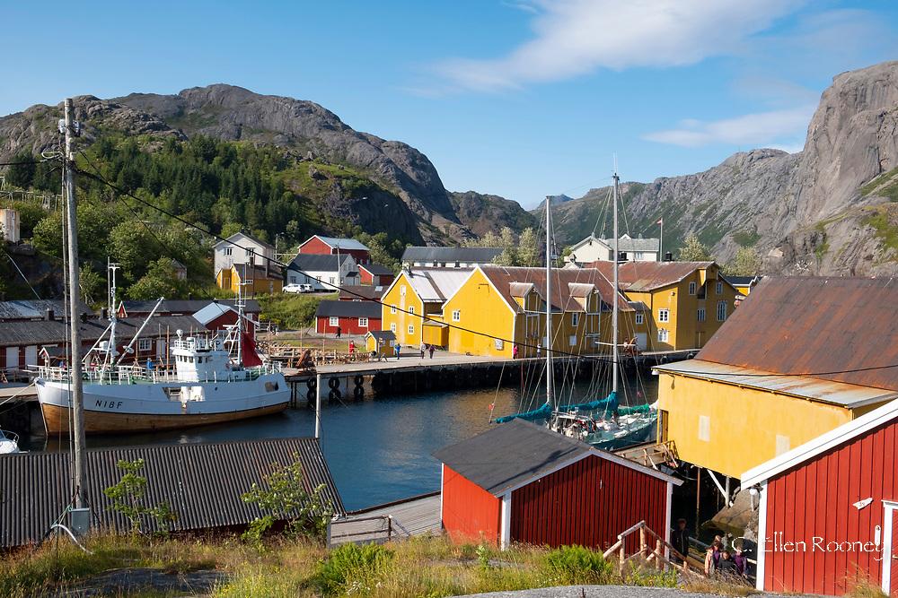 The colourful fishing village of Nusfjord on Flakstadoya, the Lofoten Islands, Norway
