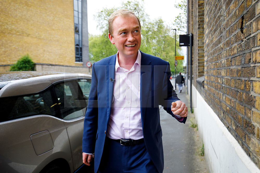 © Licensed to London News Pictures. 24/04/2017. London, UK. Liberal Democrat leader Tim Farron arrives at an election campaign event in Vauxhall, London on 24 April 2017. Photo credit: Tolga Akmen/LNP