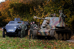 Restored and working German Sd Kfz 251 Ausf C Hlaftrack and Marder III Ausf H (Sd.Kfz. 138) Tank Killer with Reenactors from the Northern World War Two Associations Kompanie 1 GrossDeutschland and 21st Panzer Living History Groups.<br /> Pickering 1940s war weekend 16th-18th October 2009 Image Copyright Paul David Drabble