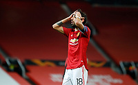 Football - 2020 / 2021 EUFA Europa League - Round of 32 - Second Leg - Manchester United  vs Real Sociedad - Old Trafford<br /> <br /> Bruno Fernandes of Manchester United at Old Trafford<br /> <br /> Credit COLORSPORT/LYNNE CAMERON