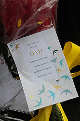 © Licensed to London News Pictures.10/04/2018<br /> HITHER GREEN, UK.<br /> Flowers and cards for Henry Vincent in Further Green Road.<br />  Hither Green Burglary Murder. South Park Crescent,Hither Green.<br />  78 year old Richard Osborn-Brooks who stabbed a burglar to death in his home.<br /> Photo credit: Grant Falvey/LNP