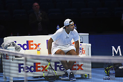 November 11, 2017 - London, United Kingdom - Rafael Nadal of Spain is pictured during a training session prior to the Nitto ATP World Tour Finals at O2 Arena, London on November 10, 2017. (Credit Image: © Alberto Pezzali/NurPhoto via ZUMA Press)