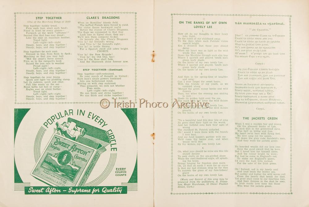 Munster Senior and Minor Hurling Championship Final, .07281940MSMHF.28.07.1940, 07.28.1940, 28th July 1940, ..Senior Cork v Limerick.Minior Limerick v Clare..Sweet Afton Cigarettes, ..Step Together, M J Barry,
