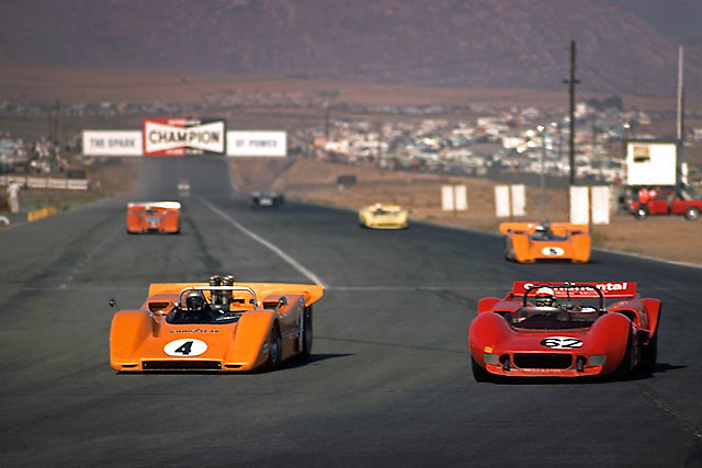 Riverside International Raceway was wide and fast, just like its 1.1-mile-long back straight. Diving into Turn 9 at the end, the Bruce and Denny Show in their M8s lap the older McLaren of John Cannon, hero of the previous wet race at Laguna Seca, but outgunned here in the desert.