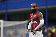 Alexandre lacazette of Arsenal looks on during pre-match warm up. Premier league match, Chelsea v Arsenal at Stamford Bridge in London on Sunday 17th September 2017.<br /> pic by Kieran Clarke, Andrew Orchard sports photography.