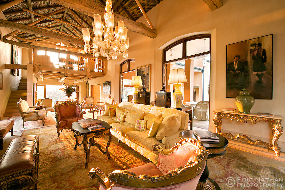 Lounge area of La Residence in Franschhoek, South Africa.