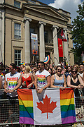 Pride in London parade passes the Canadian High Commission on Cockspur Street on the 7th July 2018 in central London in the United Kingdom. 30,000 marched through central London for the city's annual LGBT Pride celebration.