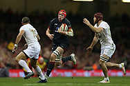 Seb Davies of Wales © breaks away from Georgia's Beka Bitsadze ®. . Under Armour 2017 series Autumn international rugby, Wales v Georgia at the Principality Stadium in Cardiff , South Wales on Saturday 18th November 2017. pic by Andrew Orchard, Andrew Orchard sports photography