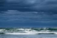 Surf, wind spray and storm clouds, Galicia, Spain<br /> <br /> Brandung, Windgischt und Gewitterwolken, Galizien, Spanien