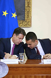 Italy, Caserta -  November 19, 2018.A protocol of understanding on the 'Land of Fires' toxic-waste fire area near Naples (Campania region) signed in Caserta..Premier Giuseppe Conte and deputy Premier Luigi Di Maio attend a press conference. The Interior Minister Matteo Salvini, did not attend   the conference for a dinner at the Quirinale palace (Credit Image: © Ciro De Luca/Ropi via ZUMA Press)
