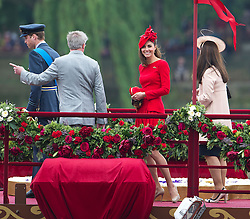 © Licensed to London News Pictures. 03/06/2012. London, UK. Catherine Duchess of Cambridge and Prince William on board Royal Barge Spirit of Chartwell during the Jubilee Pageant on the River Thames, London on June 03,2012 as part of The Diamond Jubilee celebrations. Great Britain is celebrating the 60th  anniversary of the countries Monarch HRH Queen Elizabeth II accession to the throne . Photo credit : Ben Cawthra/LNP