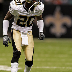 2009 August 14: New Orleans Saints cornerback Randall Gay (20) in warm ups prior to the start of a preseason opener between the Cincinnati Bengals and the New Orleans Saints at the Louisiana Superdome in New Orleans, Louisiana.