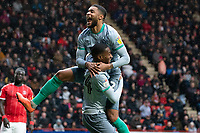 Blackburn Rovers' Tosin Adarabioyo celebrates scoring his side's second goal with team-mate Dominic Samuel<br /> <br /> Photographer Stephanie Meek/CameraSport<br /> <br /> The EFL Sky Bet Championship - Charlton Athletic v Blackburn Rovers - Saturday 15th February 2020 - The Valley - London<br /> <br /> World Copyright © 2020 CameraSport. All rights reserved. 43 Linden Ave. Countesthorpe. Leicester. England. LE8 5PG - Tel: +44 (0) 116 277 4147 - admin@camerasport.com - www.camerasport.com