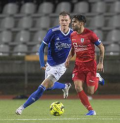 Daniel Norouzi (FC Helsingør) og Kristoffer Munksgaard (Fremad Amager) under kampen i 1. Division mellem Fremad Amager og FC Helsingør den 21. oktober 2020 i Sundby Idrætspark (Foto: Claus Birch).