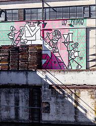 06.04.2019, Handelshafen, Linz, AUT, Saisonstart der Mural Harbour Gallery, im Bild Wandgemälde und Graffiti an den Gebäuden im Linzer Hafen // Wall paintings and graffiti on the buildings in Linz harbour during the season start of the Mural Harbor Gallery at the Handelshafen in Linz, Austria on 2019/04/06. EXPA Pictures © 2019, PhotoCredit: EXPA/ JFK