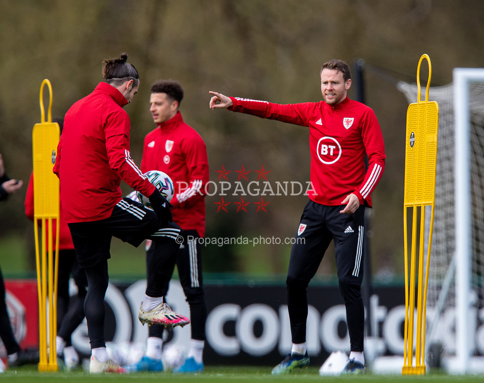 CARDIFF, WALES - Monday, March 29, 2021: Wales' Chris Gunter during a training session at the Vale Resort ahead of the FIFA World Cup Qatar 2022 Qualifying Group E game against the Czech Republic. (Pic by David Rawcliffe/Propaganda)