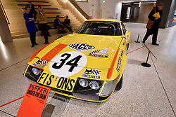 """© Licensed to London News Pictures. 14/11/2017. London, UK.  A Ferrari 365 GTB/4 """"Daytona"""", 1973. Preview of """"Ferrari: Under the Skin"""", an exhibition at the Design Museum to mark the 70th anniversary of Ferrari.  Over GBP140m worth of Ferraris are on display from private collections including Michael Schumacher's 2000 F1 winning car.  The exhibition runs 15 November to 15 April 2018.  Photo credit: Stephen Chung/LNP"""