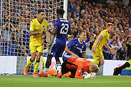 Bristol Rovers goalkeeper Steve Mildenhall (1) saving from corner during the EFL Cup match between Chelsea and Bristol Rovers at Stamford Bridge, London, England on 23 August 2016. Photo by Matthew Redman.